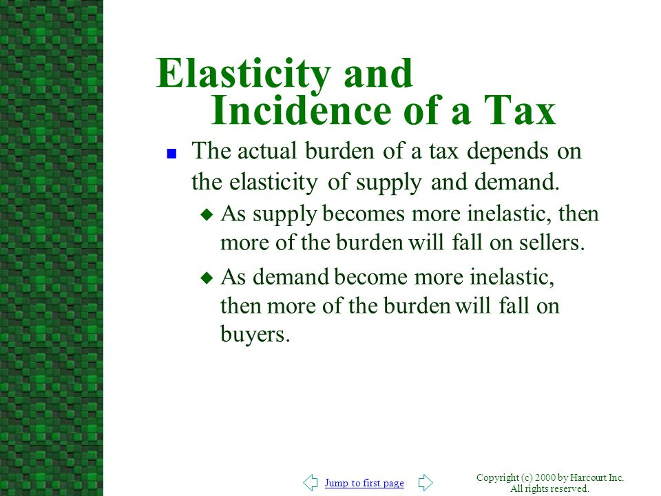 Elasticity and Incidence of a Tax