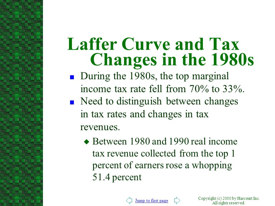 Laffer Curve and Tax Changes in the 1980s