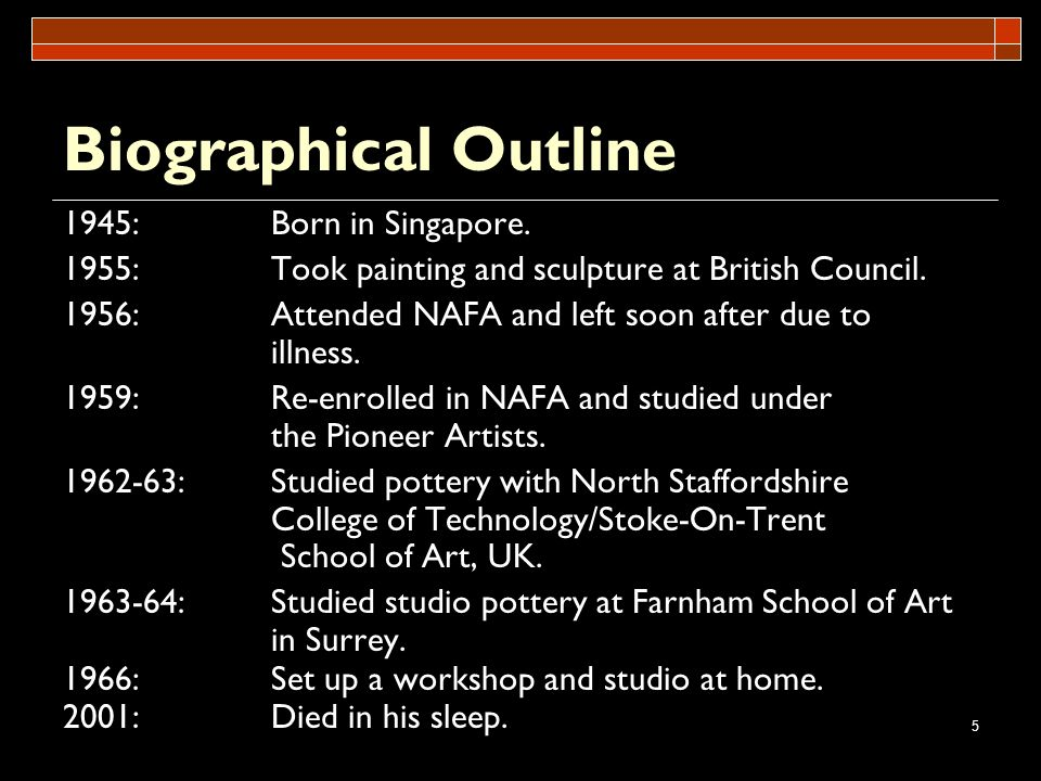 Biographical Outline 1945: Born in Singapore.