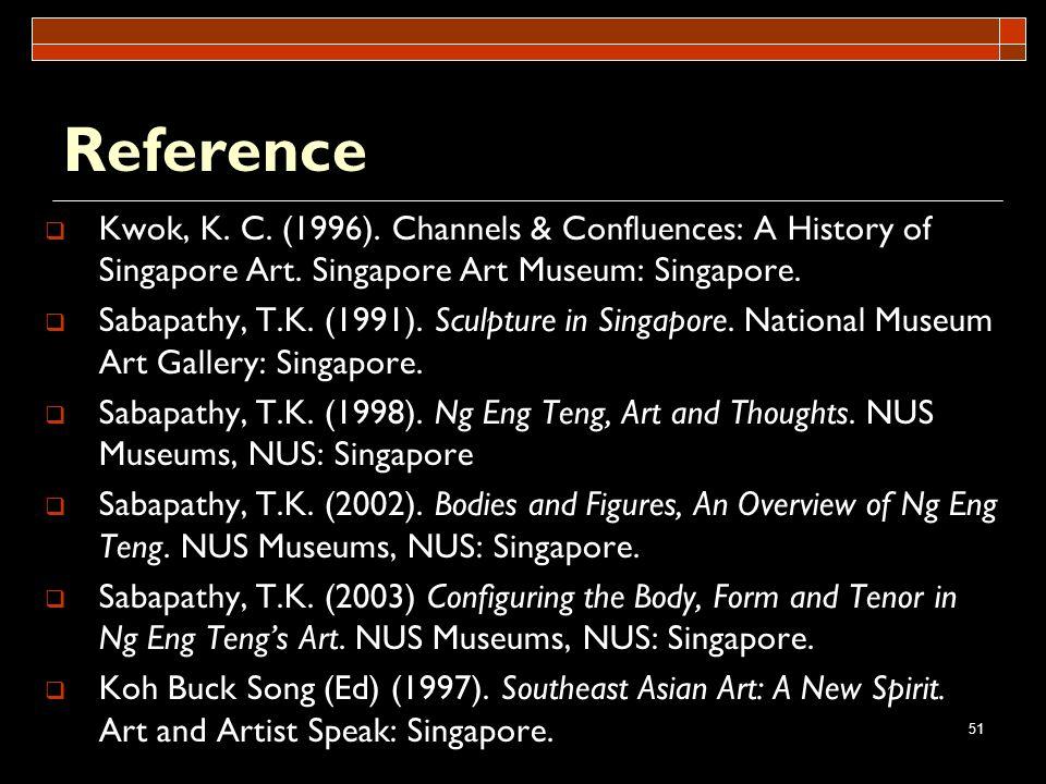 Reference Kwok, K. C. (1996). Channels & Confluences: A History of Singapore Art. Singapore Art Museum: Singapore.