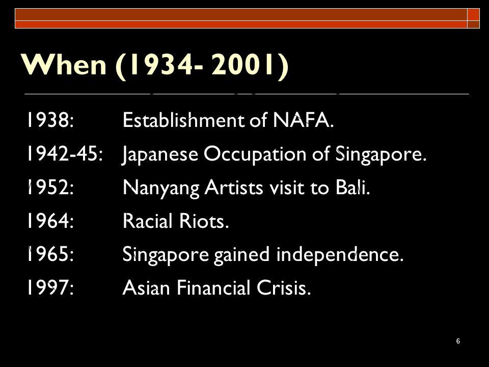 When (1934- 2001) 1938: Establishment of NAFA.