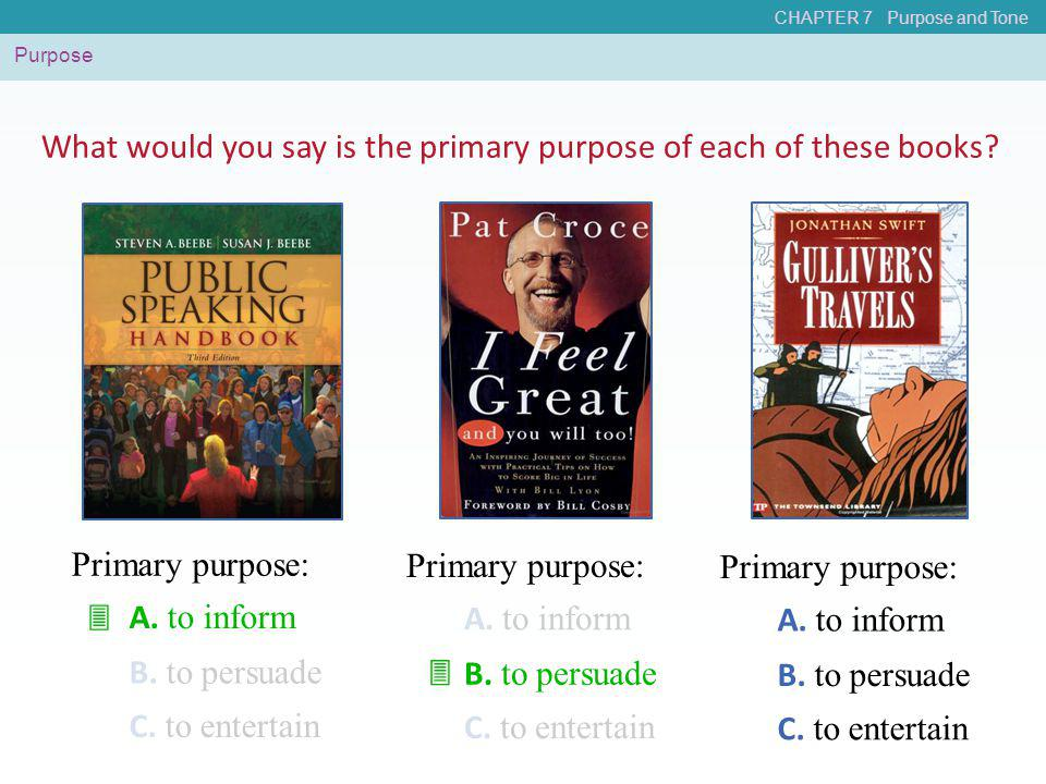 What would you say is the primary purpose of each of these books
