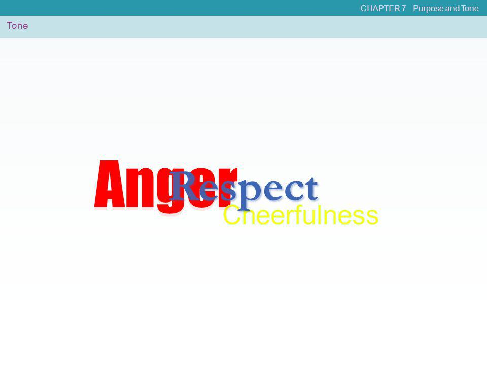 Anger Anger Respect Cheerfulness Tone CHAPTER 7 Purpose and Tone