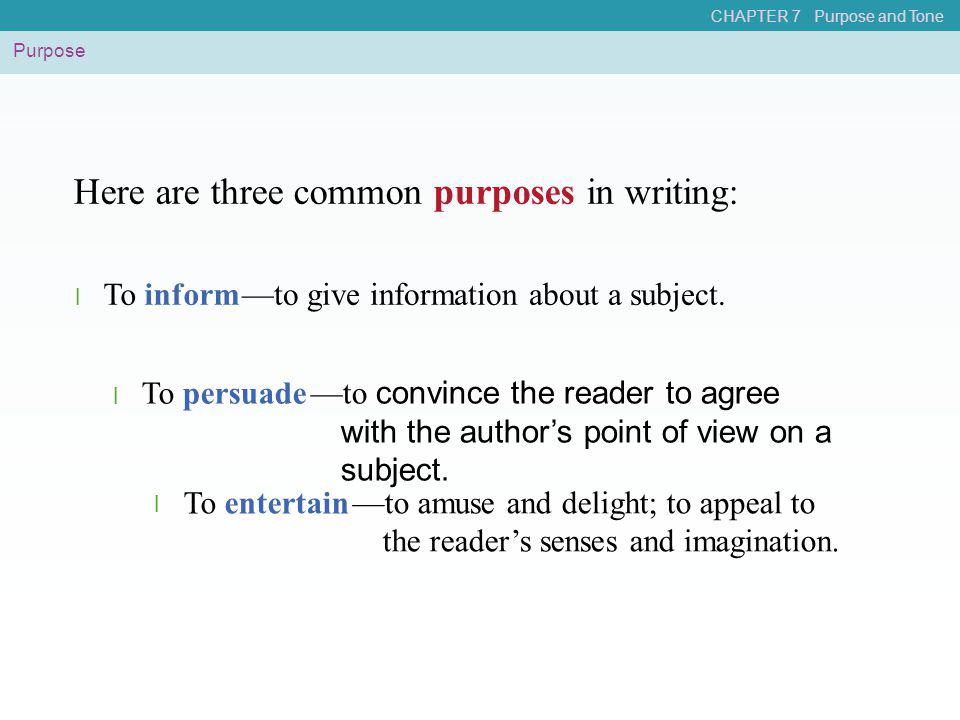 Here are three common purposes in writing: