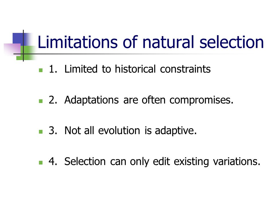 Limitations of natural selection