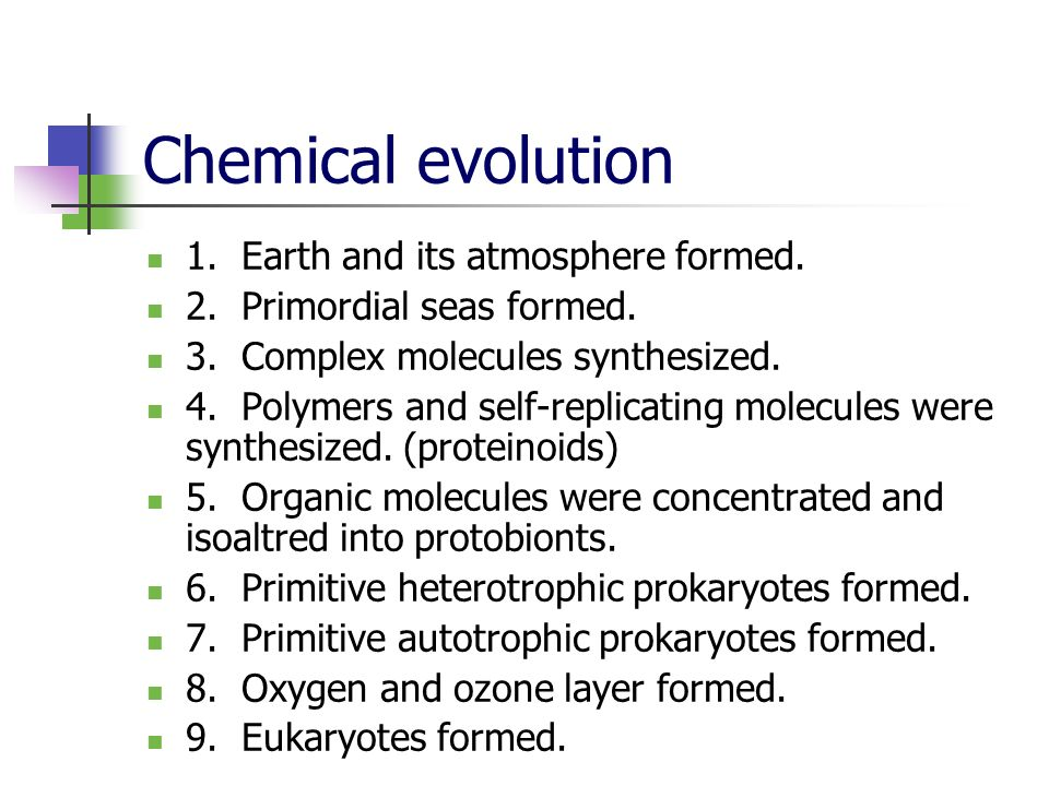 Chemical evolution 1. Earth and its atmosphere formed.