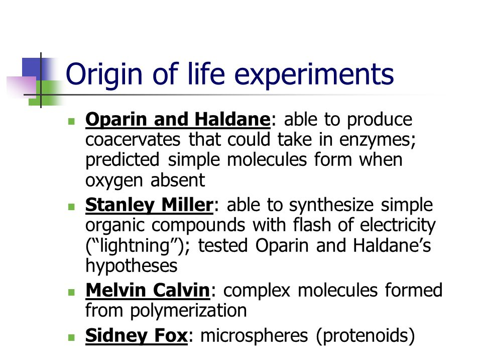 Origin of life experiments