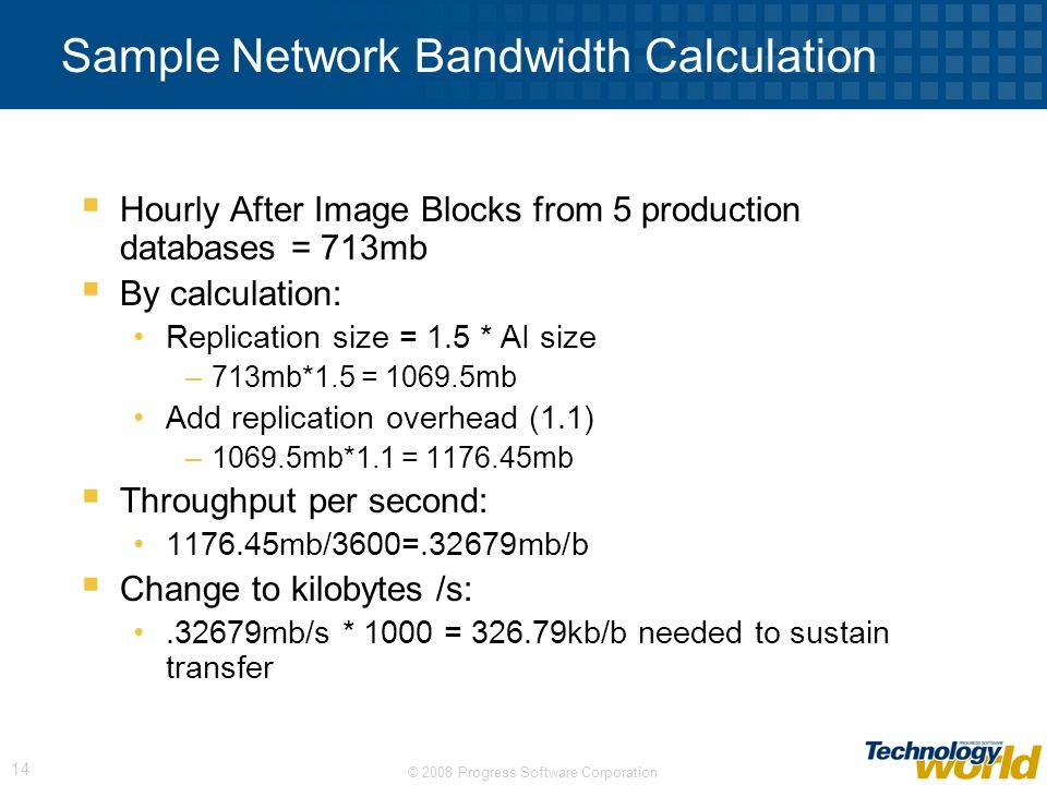 Sample Network Bandwidth Calculation