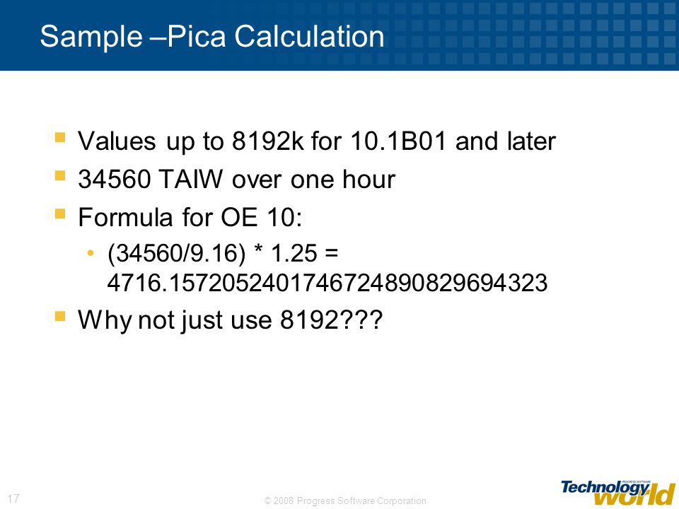 Sample –Pica Calculation