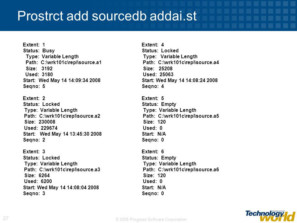 Prostrct add sourcedb addai.st