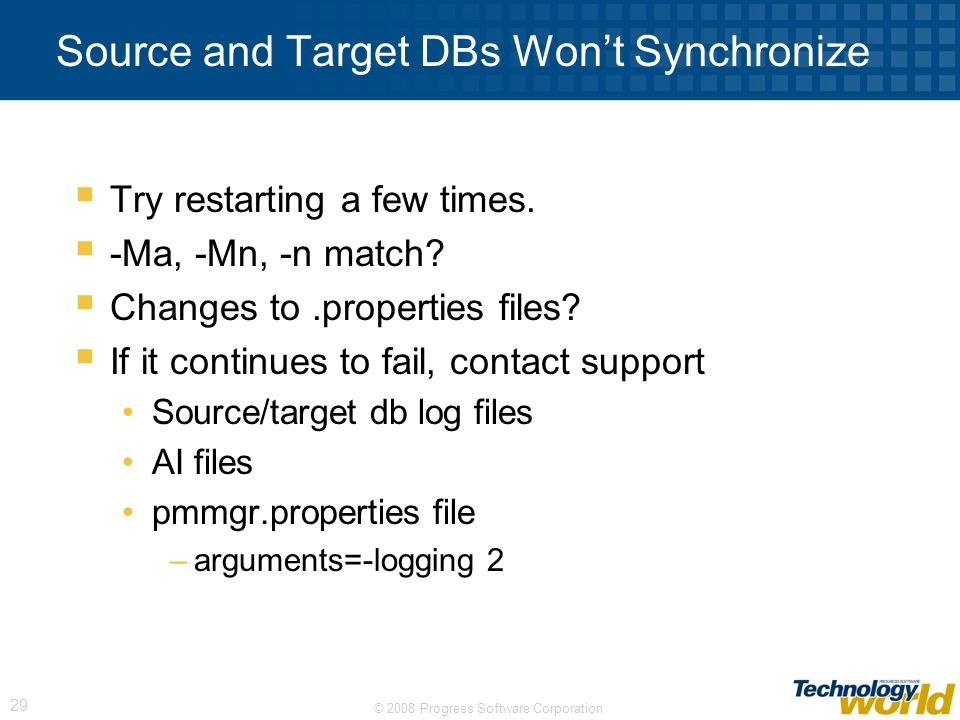 Source and Target DBs Won't Synchronize