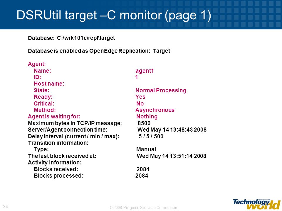 DSRUtil target –C monitor (page 1)