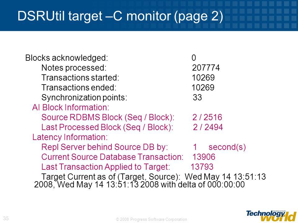 DSRUtil target –C monitor (page 2)