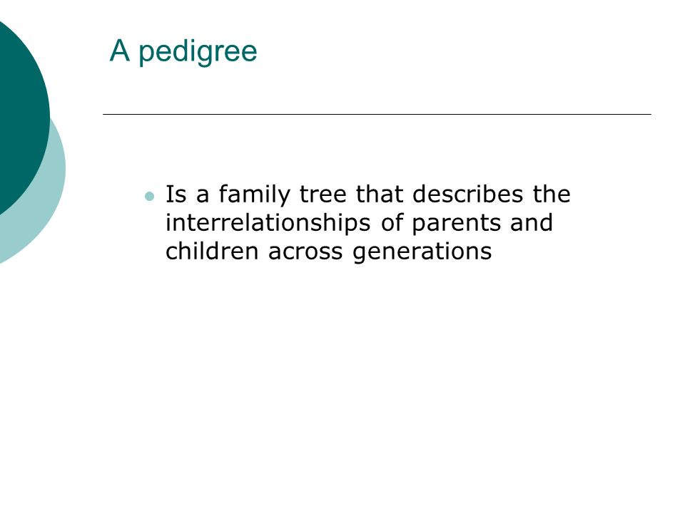 A pedigree Is a family tree that describes the interrelationships of parents and children across generations.
