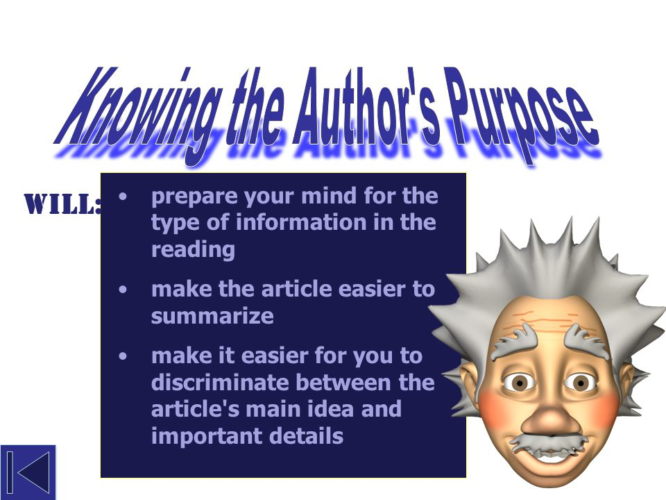 Knowing the Author s Purpose