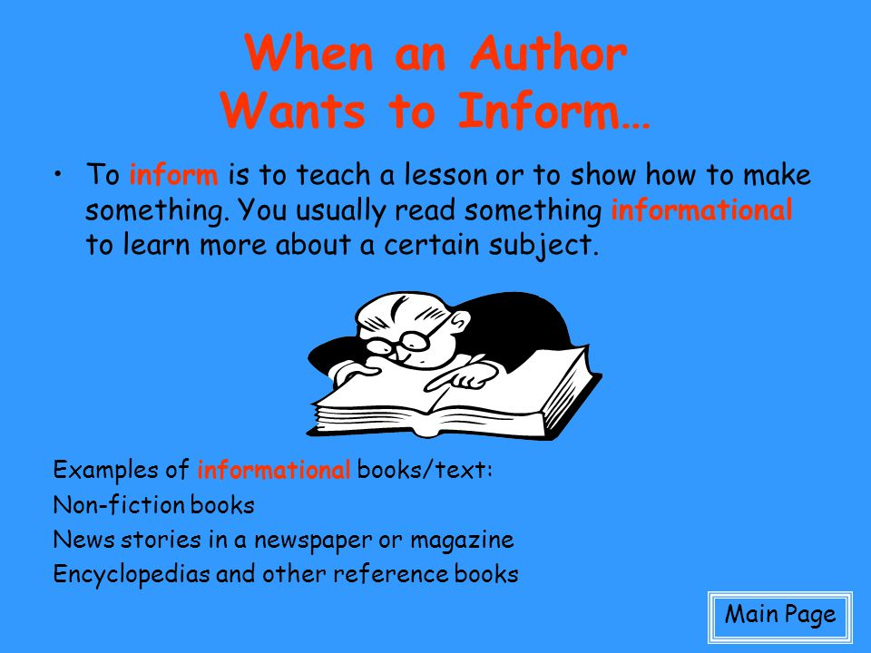 When an Author Wants to Inform…