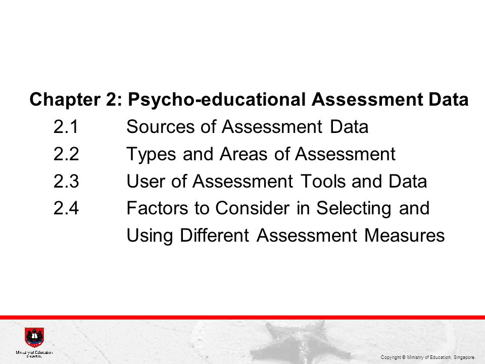 Chapter 2: Psycho-educational Assessment Data