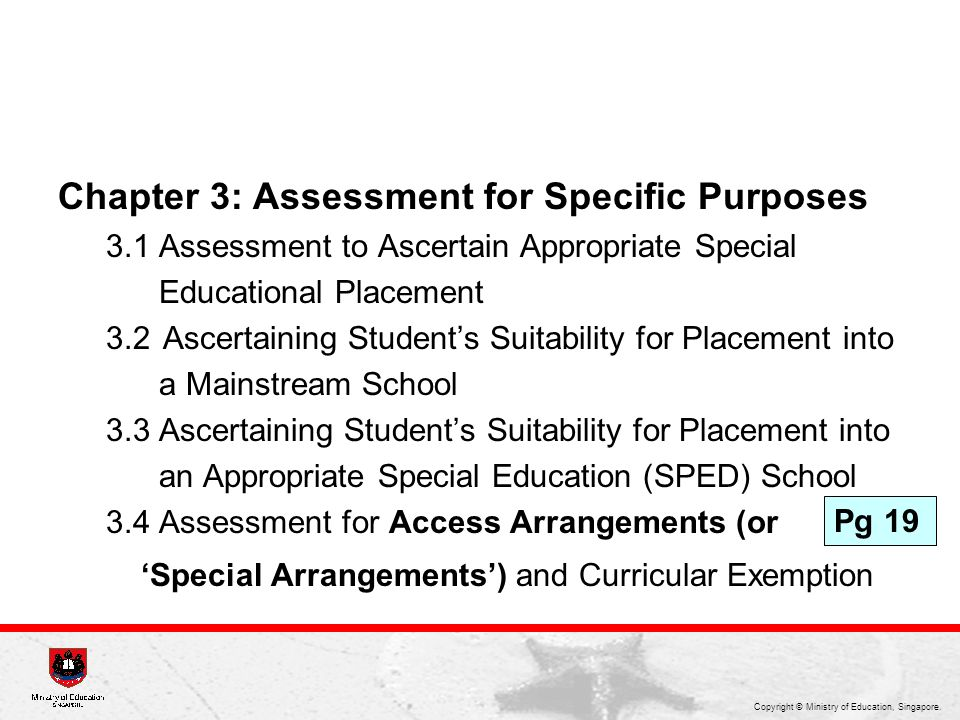 Chapter 3: Assessment for Specific Purposes