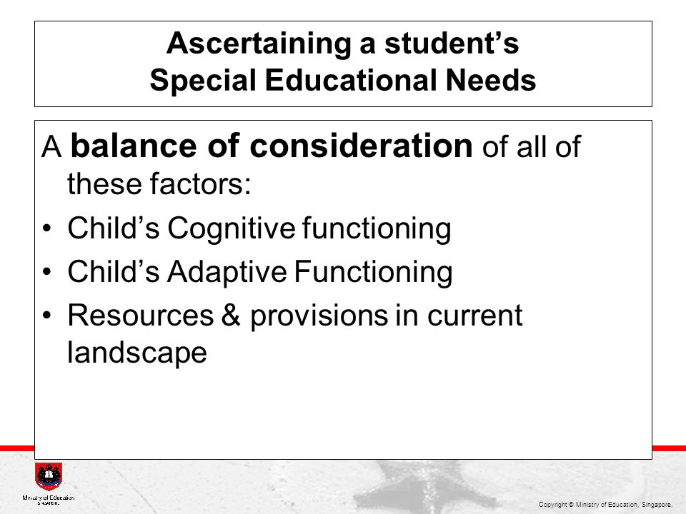 Ascertaining a student's Special Educational Needs