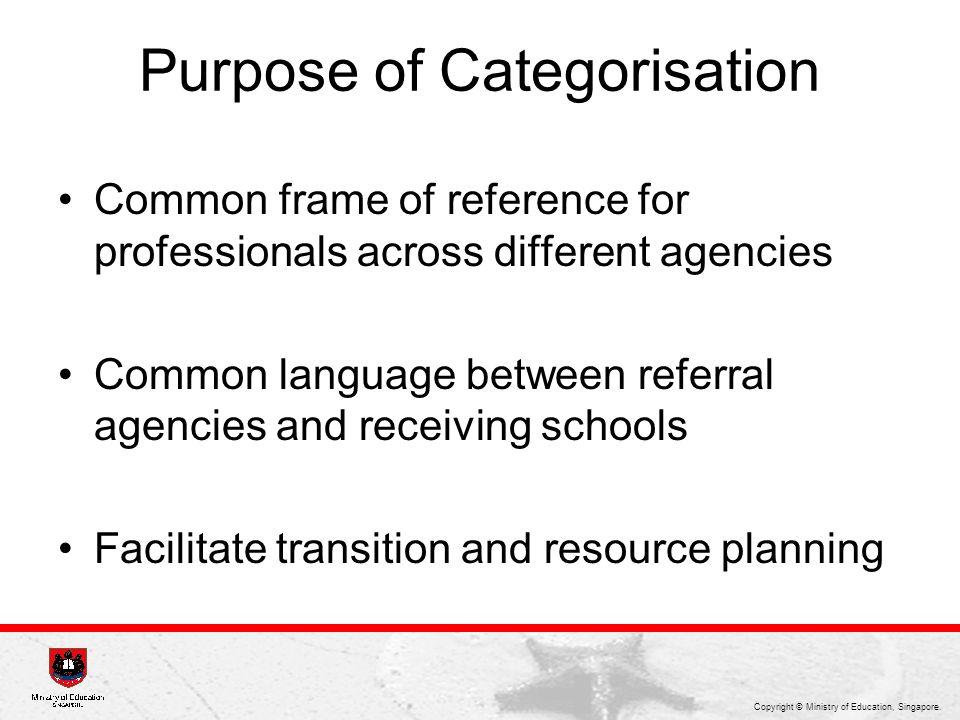 Purpose of Categorisation