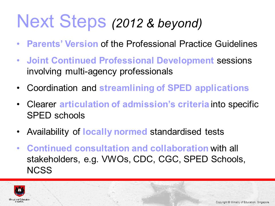 Next Steps (2012 & beyond) Parents' Version of the Professional Practice Guidelines.