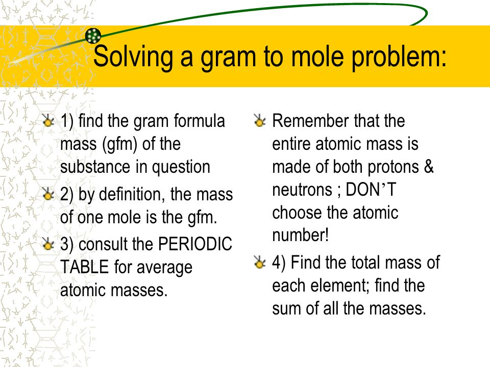 Solving a gram to mole problem:
