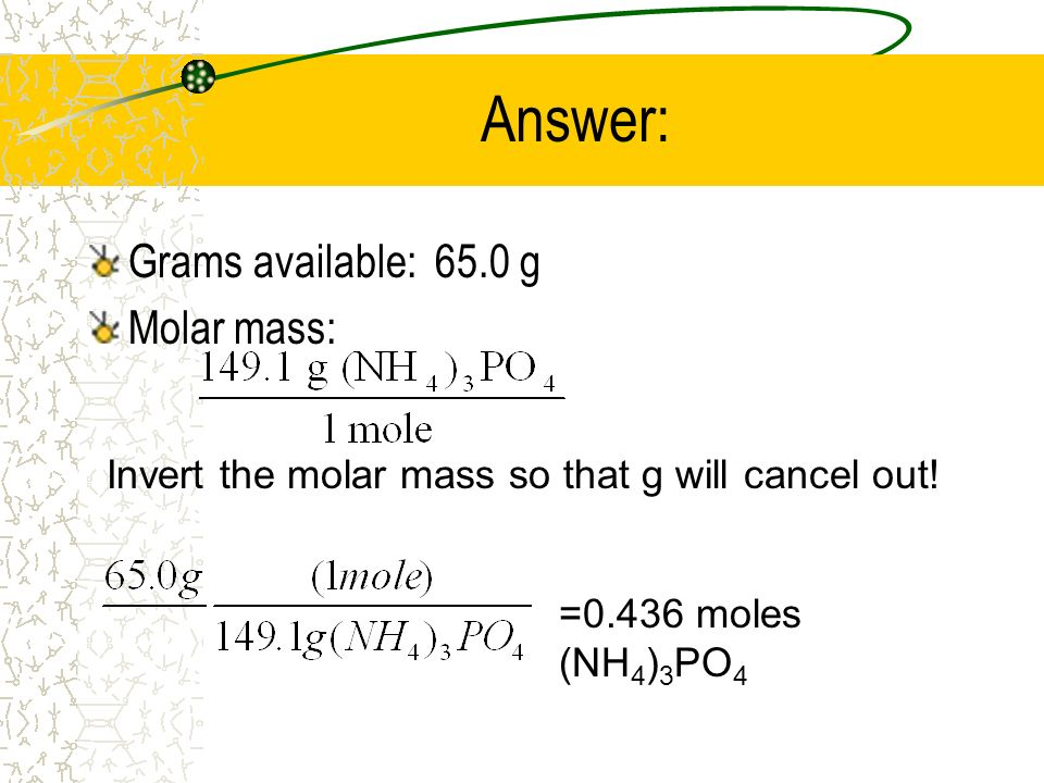 Answer: Grams available: 65.0 g Molar mass: