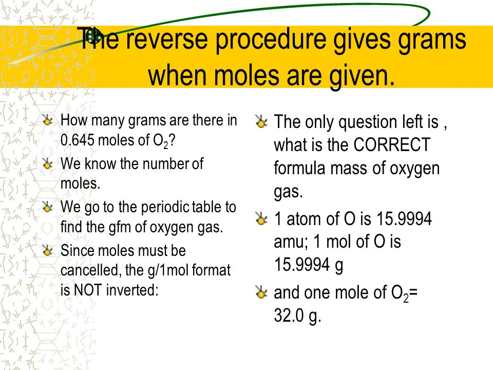 The reverse procedure gives grams when moles are given.