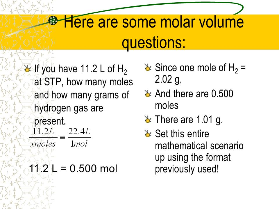 Here are some molar volume questions: