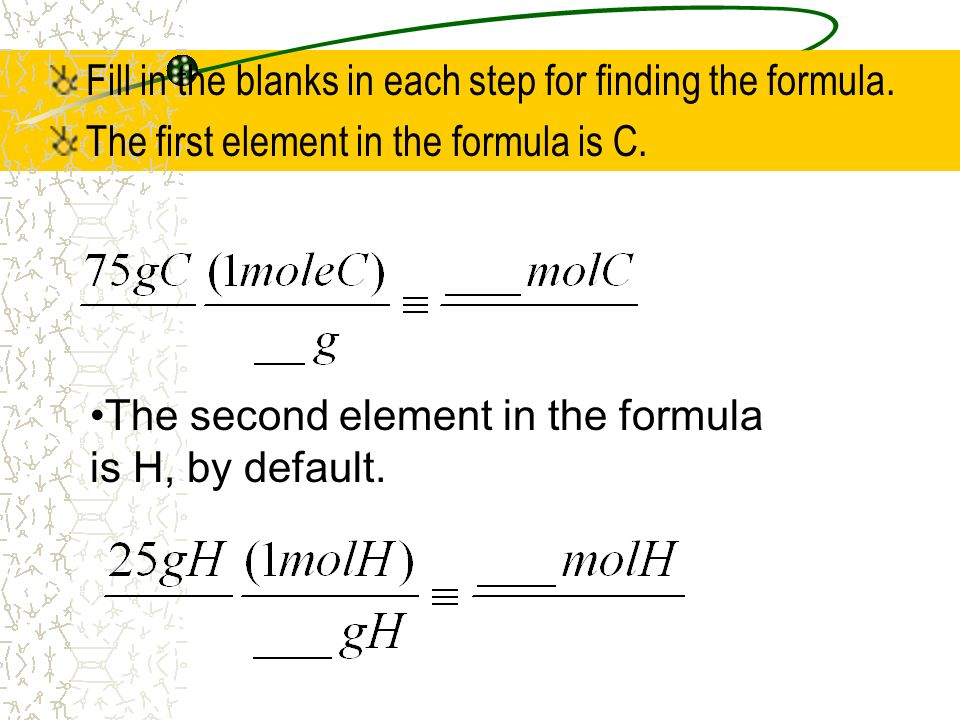 Fill in the blanks in each step for finding the formula.