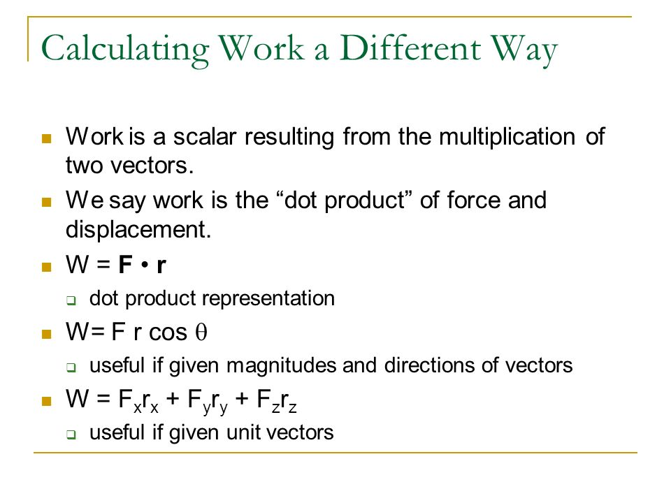 Calculating Work a Different Way