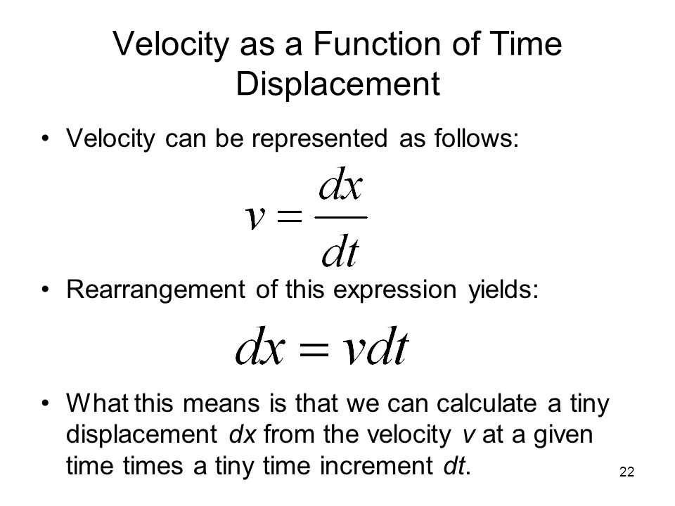 Velocity as a Function of Time Displacement