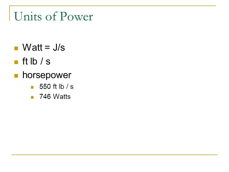 Units of Power Watt = J/s ft lb / s horsepower 550 ft lb / s 746 Watts