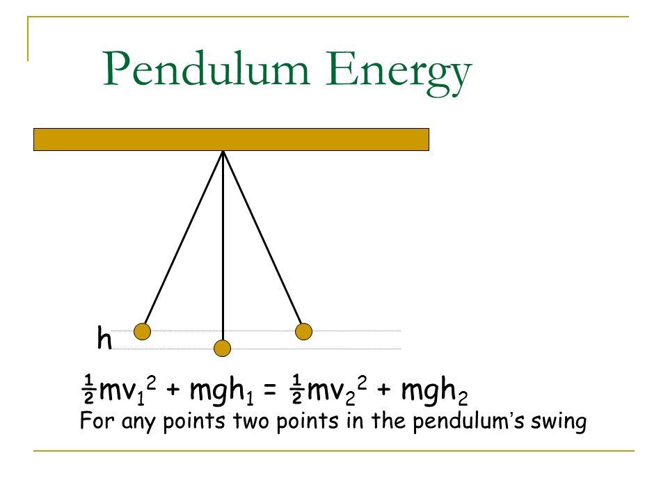 Pendulum Energy h ½mv12 + mgh1 = ½mv22 + mgh2