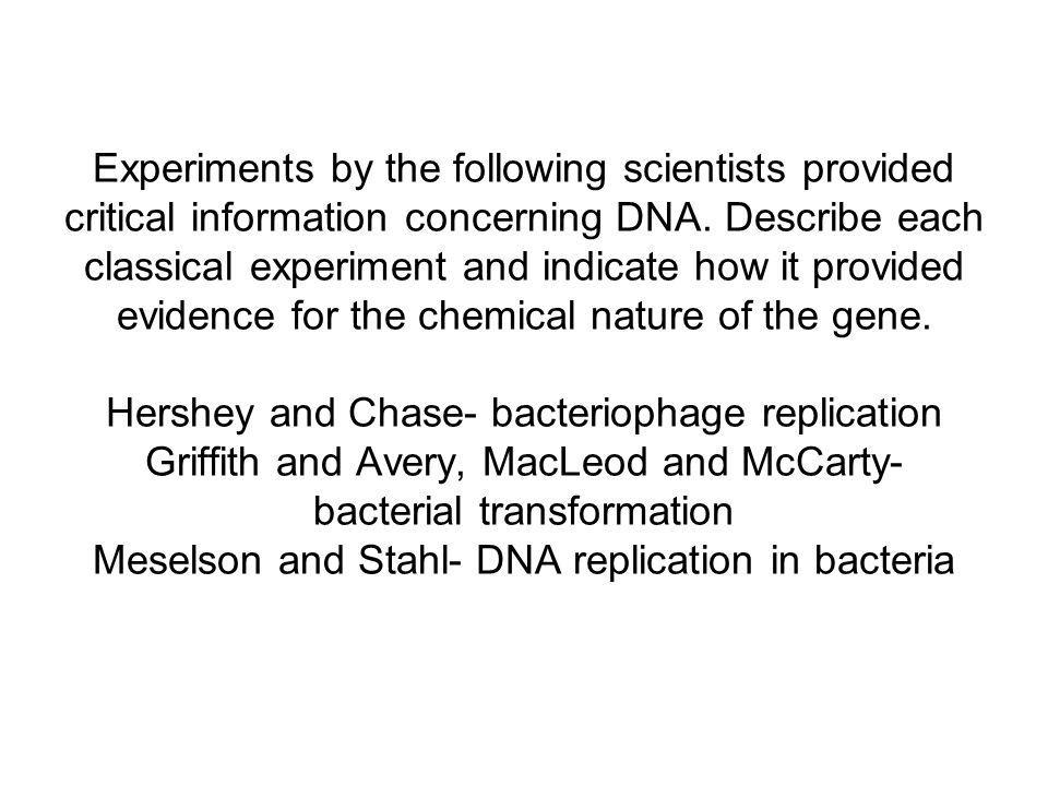 Experiments by the following scientists provided critical information concerning DNA.