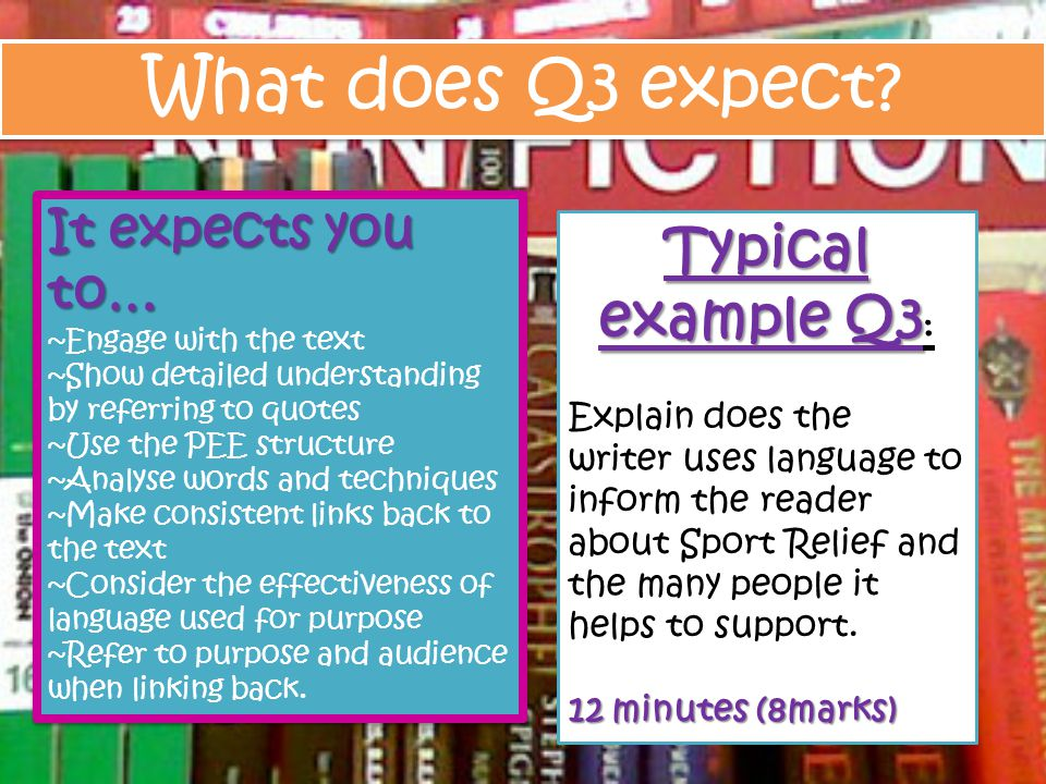 What does Q3 expect Typical example Q3: It expects you to…