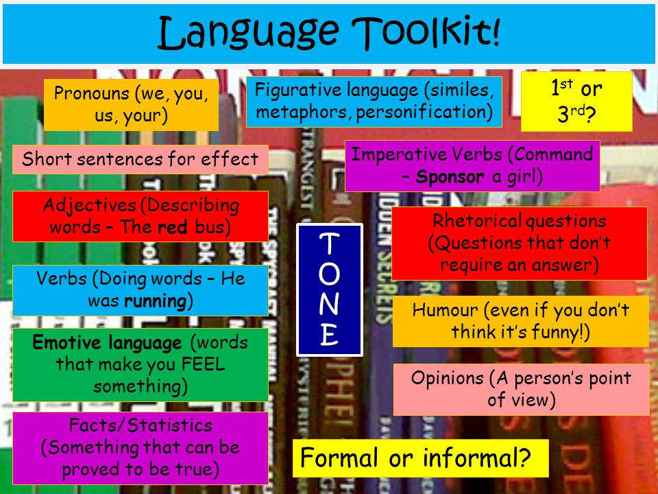 Language Toolkit! T O N E Formal or informal 1st or 3rd