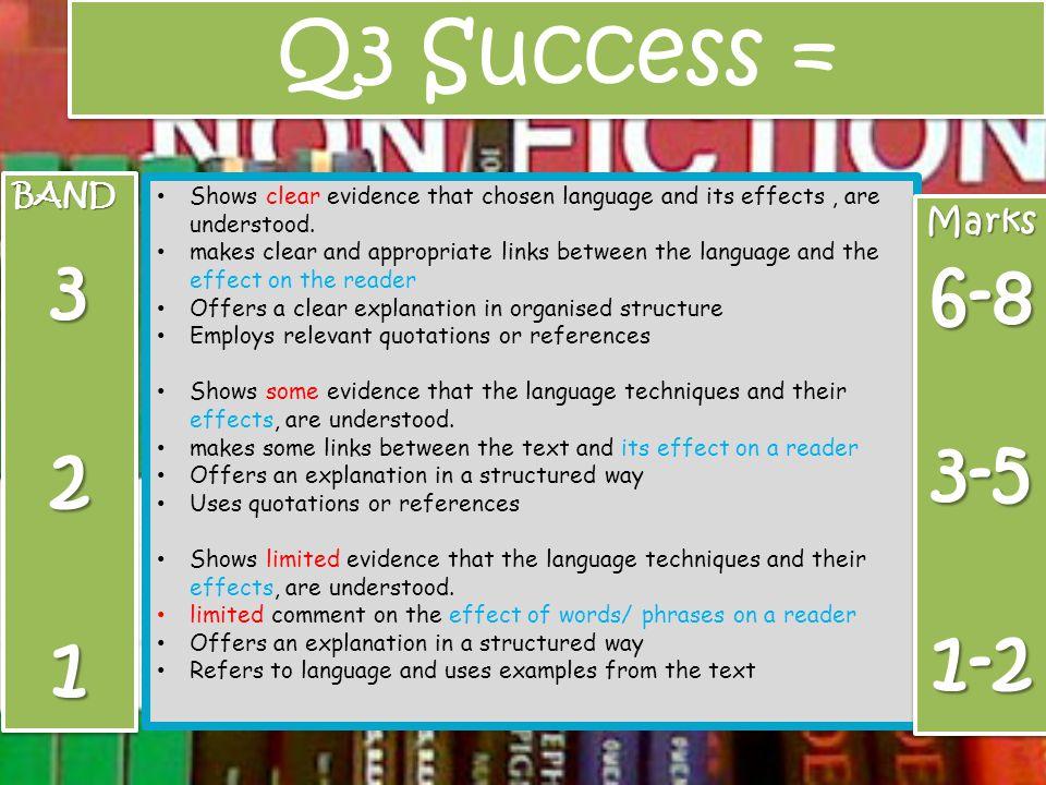 Q3 Success = 3 6-8 2 3-5 1 1-2 Marks BAND
