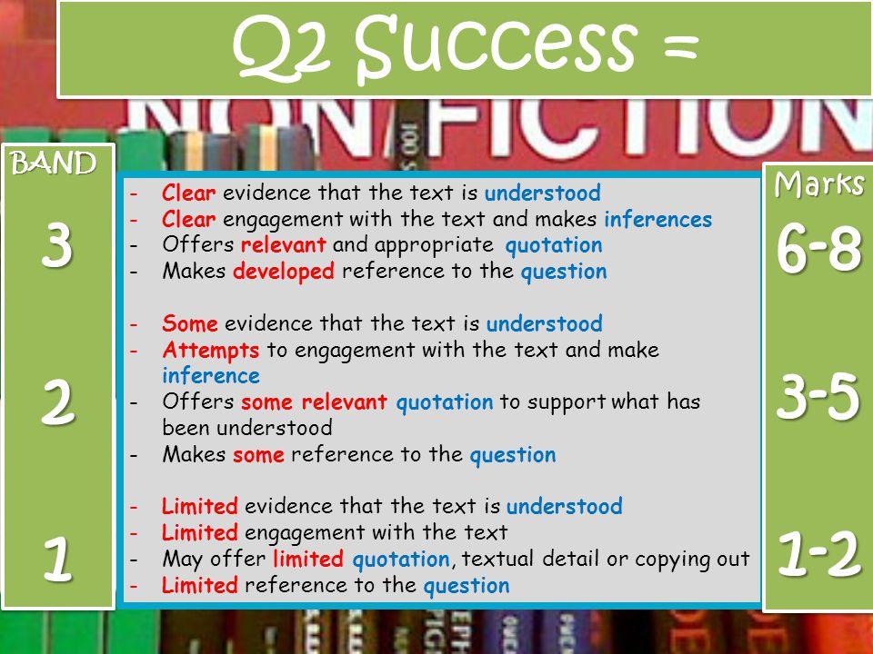 Q2 Success = 3 6-8 2 3-5 1 1-2 Marks BAND