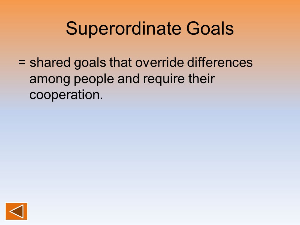 Superordinate Goals = shared goals that override differences among people and require their cooperation.