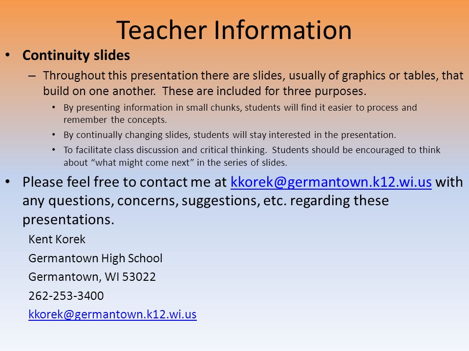 Teacher Information Continuity slides