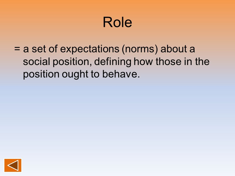 Role = a set of expectations (norms) about a social position, defining how those in the position ought to behave.