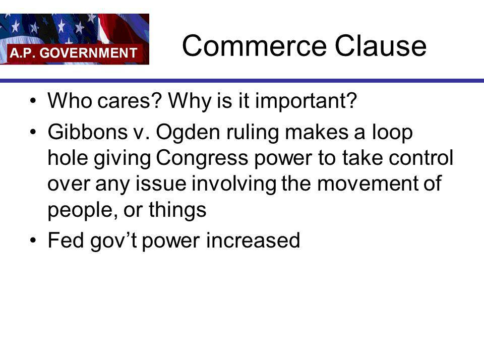 Commerce Clause Who cares Why is it important