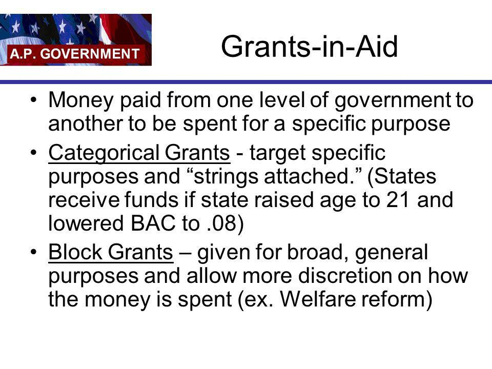 Grants-in-Aid Money paid from one level of government to another to be spent for a specific purpose.