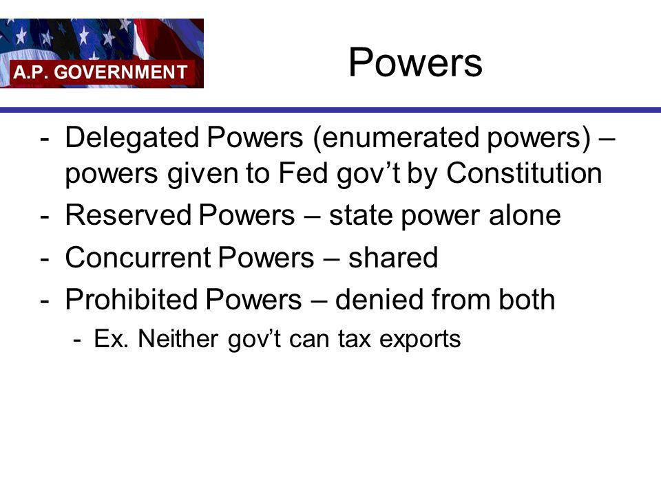 Powers Delegated Powers (enumerated powers) – powers given to Fed gov't by Constitution. Reserved Powers – state power alone.