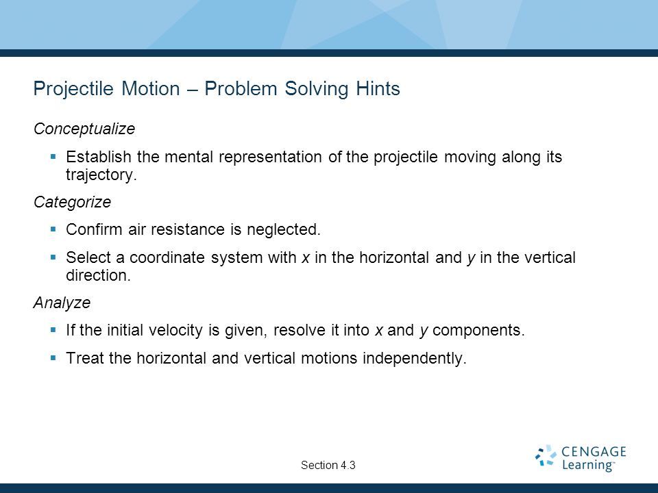 Projectile Motion – Problem Solving Hints