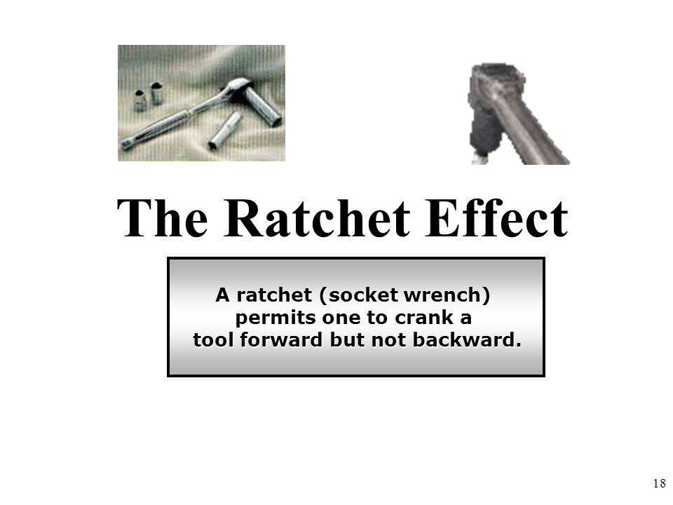 A ratchet (socket wrench) tool forward but not backward.