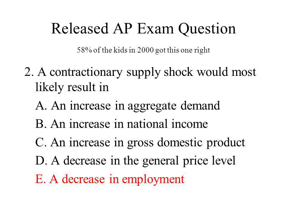 Released AP Exam Question 58% of the kids in 2000 got this one right