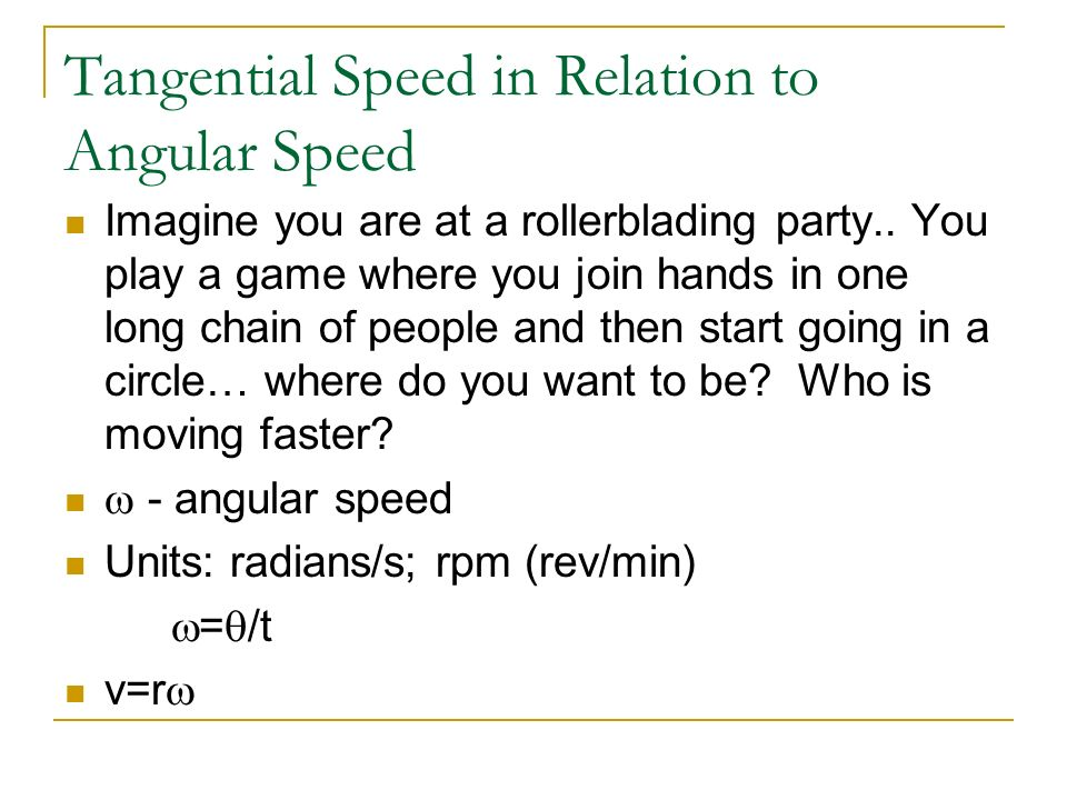 Tangential Speed in Relation to Angular Speed