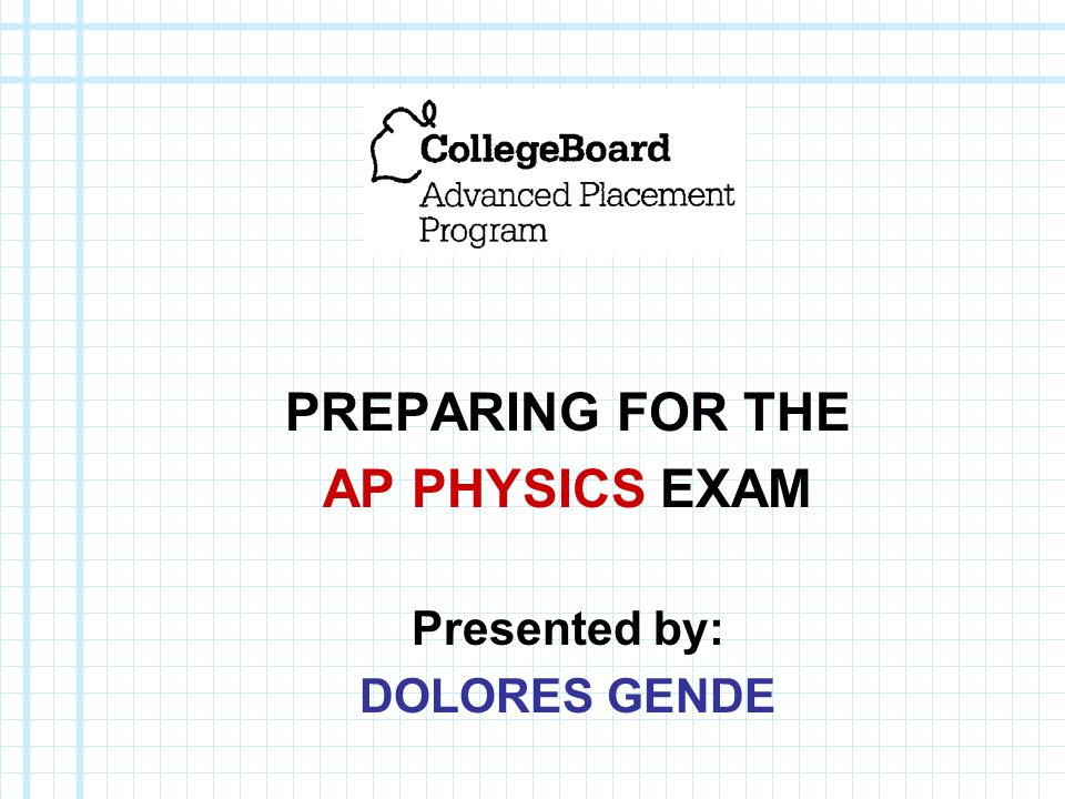 PREPARING FOR THE AP PHYSICS EXAM Presented by: DOLORES GENDE